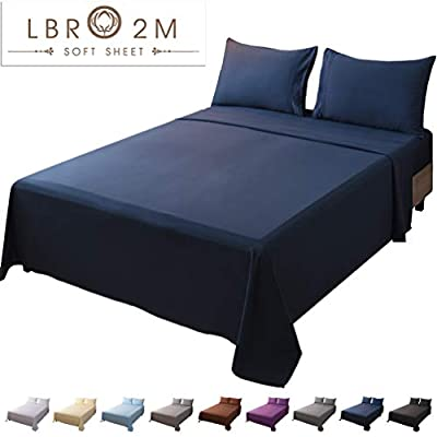 LBRO2M Bed Sheet Set Queen Size 16 Inches Deep Pocket 1800 Thread Count 100% Microfiber Sheet,Bedding Super Soft Hypoallergenic Breathable,Resistant Fade Wrinkle Cool Warm,4 Piece(Navy Blue)