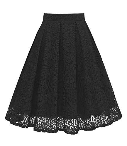 GirstunmBrand Damen Vintage A Linie Spitze Rock mit Taschen Schwarz L