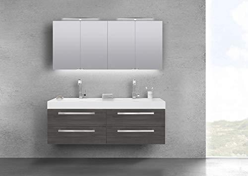 Intarbad ~ Doppelwaschtisch 160 cm Badmöbel mit Unterschrank, Spiegelschrank Halifax Eiche Natur
