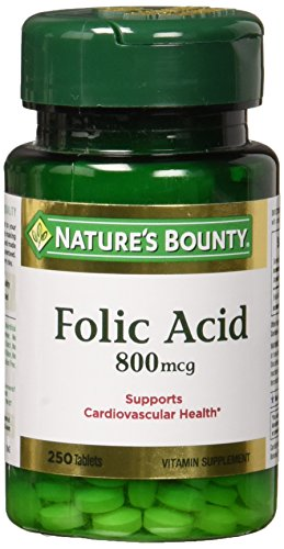 Nature's Bounty Folic Acid 800 mcg Tablets Maximum Strength 250 ea (Pack of 2)