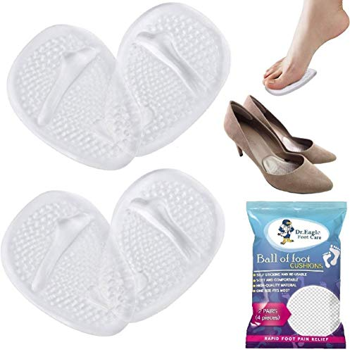 Medical Forefoot Pads Ball of Foot Cushions Gel Insoles Shoe Inserts (Self-Sticking) Metatarsal Pads for Women High Heels to Pain Relief, 2 Pairs (4 Pieces). Dr.Eagle foot care (®) (Clear+Clear)