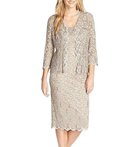 Alex Evenings Women's Tea Length Dress and Jacket (Petite and Regular Sizes), Champagne, 12P