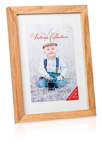 Klassischer Holz Bilderrahmen aus Eiche - Freistehender Fotorahmen für 15x21 cm Bilder   Einfach für Horizontale & Vertikale Fotos zu Verwenden   Geeignet für Tisch & Wand
