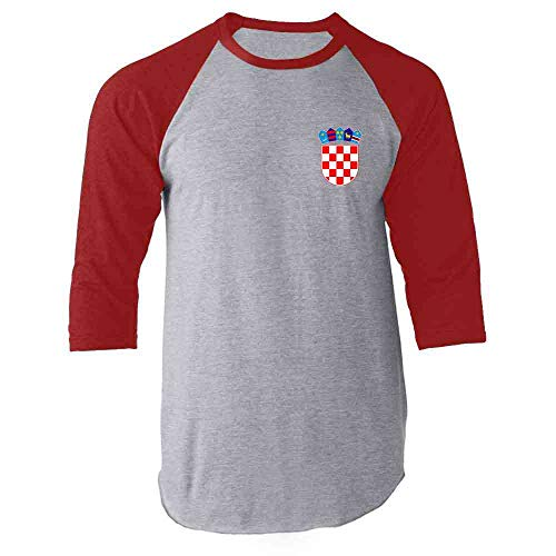 Croatia Soccer Retro National Team Sport Football Red L Raglan Baseball Tee Shirt