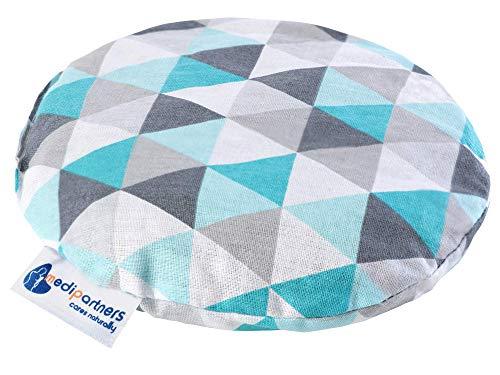 Cuscino termico con noccioli di ciliegia per bambini 180g rotondo 15 cm ecologic 100% cotone Medi Partners calore + terapia del freddo (Triangoli di menta)