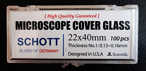 Microscope Coverglass | 22x40mm | Coverslips | Coverslides German Borosilicate Glass | Thickness #1 .13-.16mm | JL Sceintific | Pack of 100 coverslips