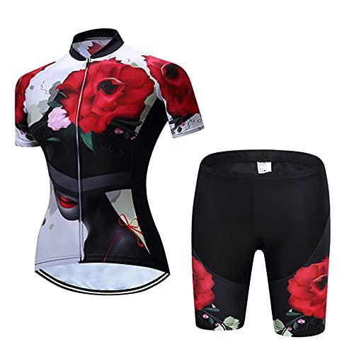 HXTSWGS Maillot Ciclismo Mujer, Jersey Mangas Cortas + 9D Gel Shorts Ciclismo Conjunto De Ropa Maillot para Deportes Al Aire Libre Ciclo Bicicleta-2_3XL