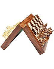 Classic Wood Folding Chess Board 3 in 1 Wooden Chess, Checker and Backgammon Set