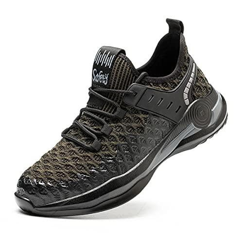 Aingrirn Zapatos de Seguridad con Punta de Acero para Hombre Mujer, Antideslizante Respirable Reflexivo Construcción Zapatos (Color : Green, Size : 47 EU)