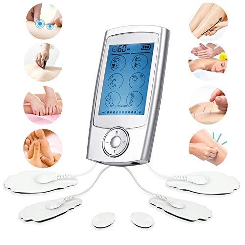 TENS/EMS Massaggiatore Elettrostimolatore con 16 Modalità Operative e 6 Elettrodi per i Massaggi a Impulso, per il Trattamento del Dolore (Schiena, Collo, Spalle, Gambe e Dolore al Nervo Sciatico)