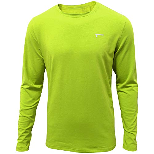 TREN Herren COOL Performance Cotton Stretch LS Tee T-Shirt Langarm Fitness Training Limegrün 370 - XL