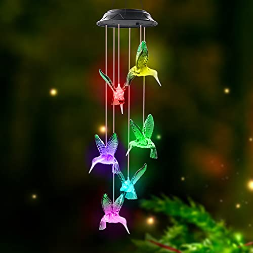 Greenke Solar Hummingbird Wind Chimes for Outside, Color Changing Solar Wind Chimes Unique Outdoor Windchimes Birthday for Mom Women Wife Grandma