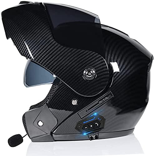 HSWYJJPFB Cascos de Moto Casco de Moto Hombre Casco de Plegable Integrado con Bluetooth Casco de con aprobación ECE/Dot Casco de Motocross 1500G Crash S-XL con Dos Viseras Cascos 0509(Color:D;Siz