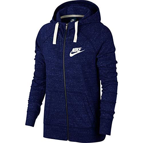 Nike Womens Gym Vintage Full Zip Hooded Sweatshirt Blue Void/Sail 883729-478 Size Medium