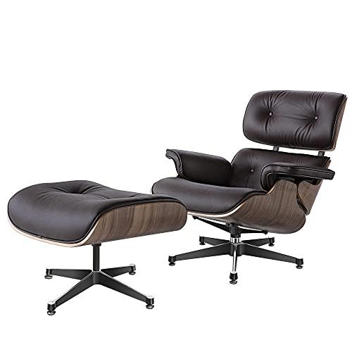 Armchair with Ottoman stressless Sessel relaxsessel,Mitte des Jahrhunderts Sessel Liegestuhl mit echtem Leder, Moderne Liege für Schlafzimmer, Wohnzimmer, Lounge-Büro oein (Dunkelbraun)