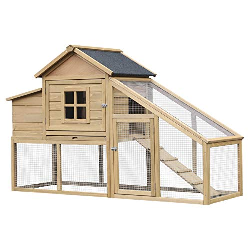 PawHut 69' L Wooden Chicken Coop Hen House with Nesting Box and Run Outdoor