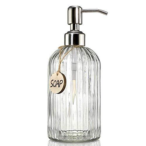 Newthinking Dispensador de jabón, dispensador de jabón de mano con bomba de acero inoxidable, botellas de vidrio transparente de 16 onzas para baño y cocina
