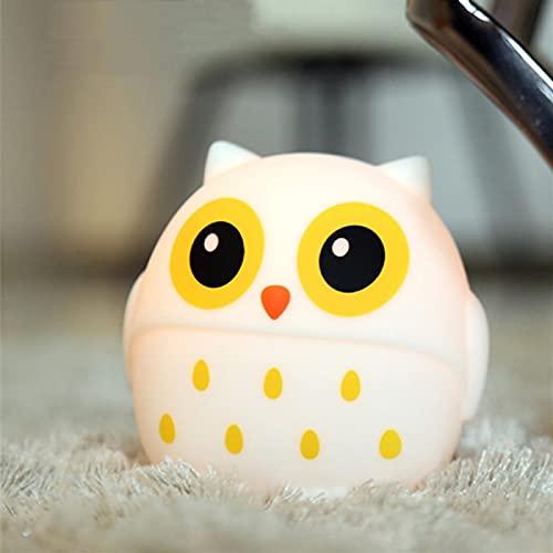 Owl Led3 Color Night Light Usb Recargable Dormitorio Lámpara De Cabecera Regalo De Los Niños