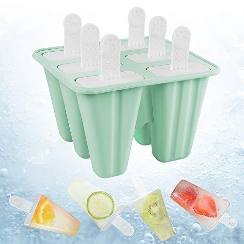 Manfore Eisformen EIS am Stiel Formen Set 6 Ice Pop Bereiter und Stöcke, BPA-freie Wiederverwendbare Eiscremeformen für Kinder Erwachsene DIY Food Grade Silikon Popsicles Tray, Grün