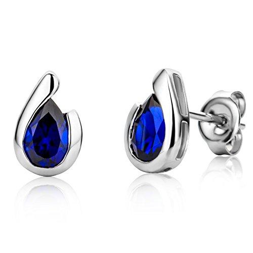 MIORE MG9241E - Pendientes para mujer de oro blanco 375 rodiado, zafiro azul, corte de gota