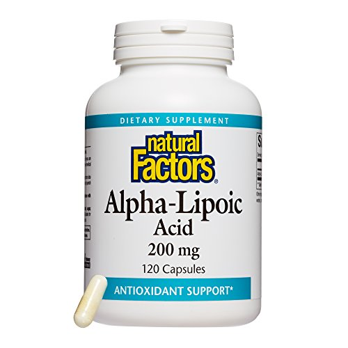 naturals alpha lipoic acids Natural Factors, Alpha-Lipoic Acid 200 mg, Antioxidant Support to Help Maintain Glucose Levels Already in a Normal Range, 120 Capsules (120 Servings)