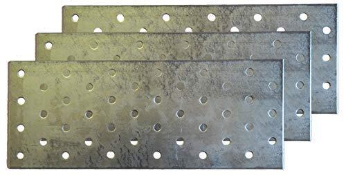 3 x Lochplatte 80 x 200, Holzverbinder, Lochblech, Nagelplatte, Flachverbinder