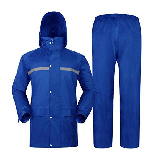 Traje de lluvia para adultos para hombres reutilizable chaqueta/pantalones trajes a prueba de lluvia a prueba de viento con capucha deportes al aire libre Trabajo Split Rainwear azul (talla XXL)