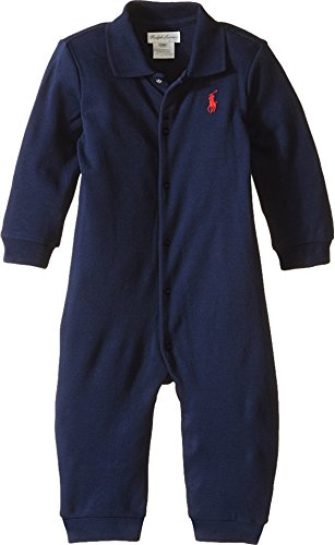 Polo Ralph Lauren Kids Baby Boy's Interlock Solid Coveralls (Infant) French Navy 0 mos