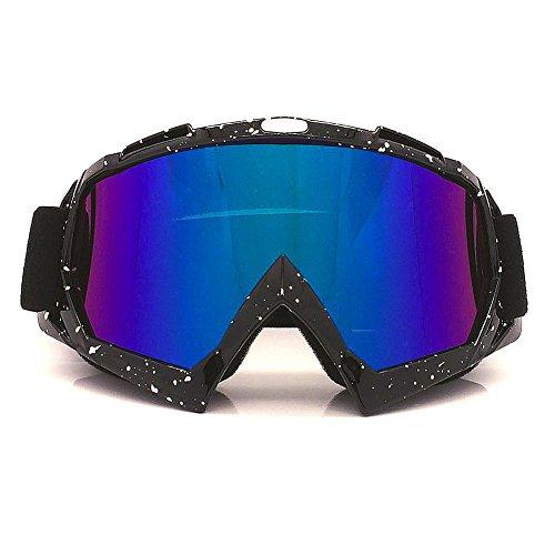 Spohife Motorradbrille/Skibrille, mit UV-Schutz, kratzfest, winddicht, staubdicht, unisex, für Aktivitäten im Freien, Skifahren, Radfahren, Klettern, Reiten, farbenfrohe Linse, Schwarz