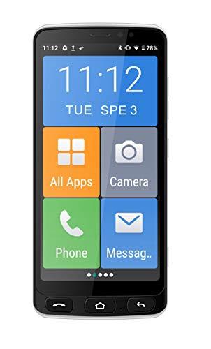 "Funker E500I Easy - Telefono Móvil Smartphone 4G con Whatsapp para Personas Mayores, Botón SOS,Base de Carga, Iconos XXL, Pantalla de 5.5"" Pulgadas HD, 16 GB de Memoria Ampliable, Android 10 (Negro)"