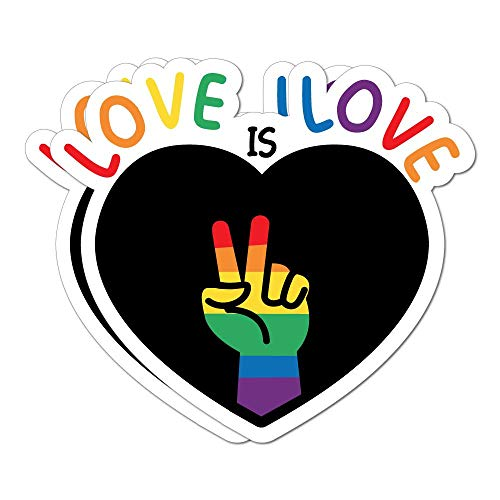 Love is Love Pride X2 Sticker Decal LGBT Pride Gay Colourful Love