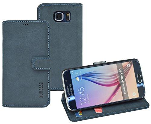 Book-Style Ledertasche Tasche für Samsung Galaxy S6 *ECHT LEDER* Handytasche Hülle Etui Hülle (Original Suncase) in pebble-blue