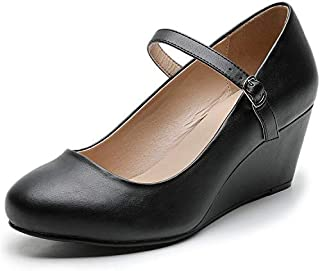 Luoika Women's Wide Width Wedge Shoes - Ankle Strap Mary Jane Dress Shoes Heel Pump