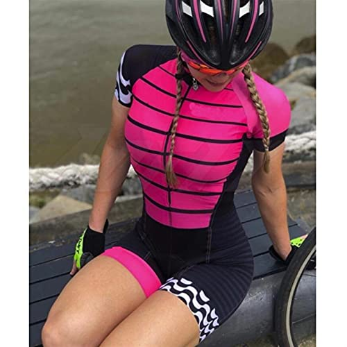 Vestito da donna Triathlon, Jersey per bicicletta da donna in bicicletta, Triathlon da donna Set da donna Jersey in bicicletta tuta manica corta (Color : Women skinsuit017, Size : SMALL)