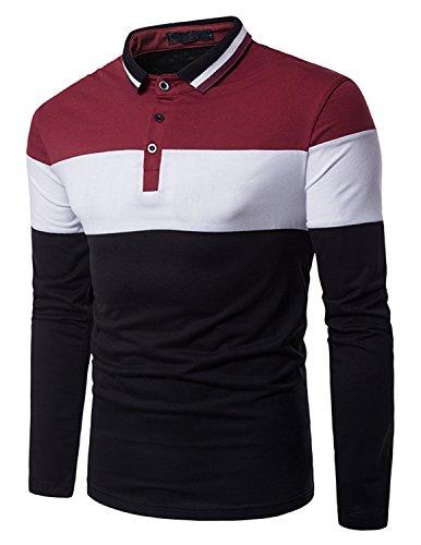 Boom Fashion Hombre Camisetas y Polos Mangas Largas Casual Oficina Botón Camisas
