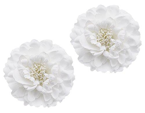 BONAMART 2 Stück Frauen Baby Mädchen Kinder Blumen Haarspangen Set Schleife Haarschmuck Pfingstrose Weiß