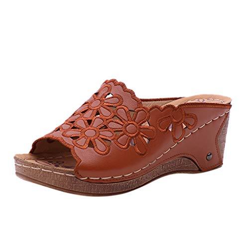 FRAUIT Damen Hausschuhe Mit Absatz, Sommer Plattformen Sandalen Loch Aushöhlen Elegant Flip Flop Stickerei Schuhe Casual Sandal Anti Rutsch Dusche Badeschuhe