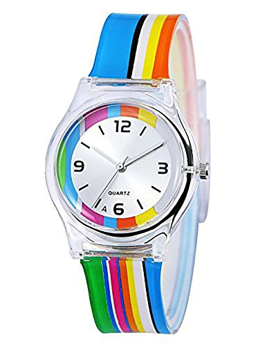 Kids Children Girls Teen Watch, 2017 Autumn New Rainbow Stripe Time Teacher...