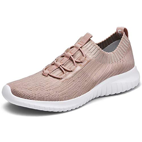 konhill Women's Comfortable Walking Shoes - Tennis Athletic Casual Slip on Sneakers 7.5 US Apricot,38
