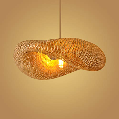 Bamboo Pendant Lighting for Kitchen Island, Dining Room Lighting Fixtures Hanging Lamp, Creative Rattan Chandelier Bird Nest Lampshade for Bar Cafe Living Room(with no Bulb)