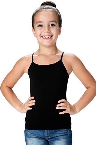 Kurve Girl's Sleeveless Tank Top – Basic Stretch Undershirts Cami Underwear Camisole Shirts for Kids Black