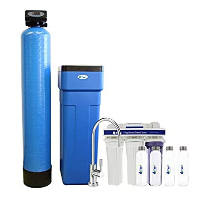 Tier1 Compatible 48,000 Grain Capacity Water Softener + 5-Stage Reverse Osmosis Drinking Water Filter System with 4 Glass Water Bottles and a 10 Panel Water Test Kit