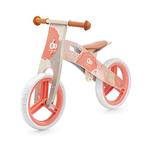 Kinderkraft Bicicletta in Legno RUNNER, Bici senza Pedali, Sella Regolabile, Accessori, Blocco dello Sterzo, Fino 35 Kg, Corallo