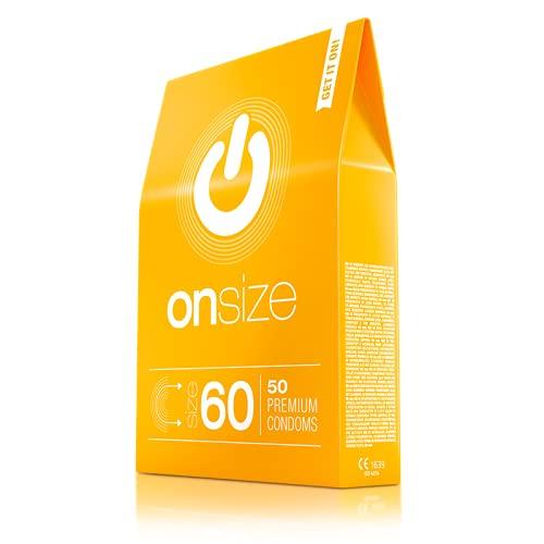 ONsize - 50 condones hechos de látex de producción justa - calidad premium vegana. 1*50 piezas, ancho 60 mm, caja de diseño