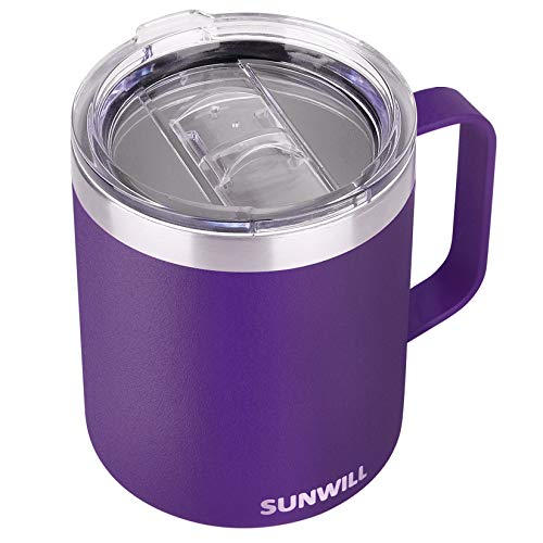 SUNWILL Insulated Coffee Mug with Handle, 14oz Stainless Steel Togo Coffee Travel Mug, Reusable and Durable Double Wall Coffee Cup, Powder Coated Purple