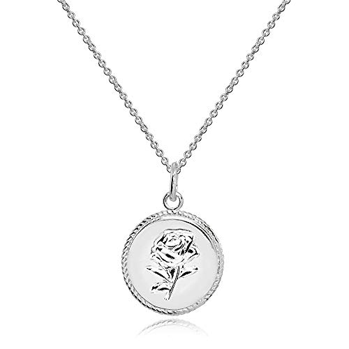 Sterling Silver Polished Rose Flower Medallion Coin Round Pendant Necklace