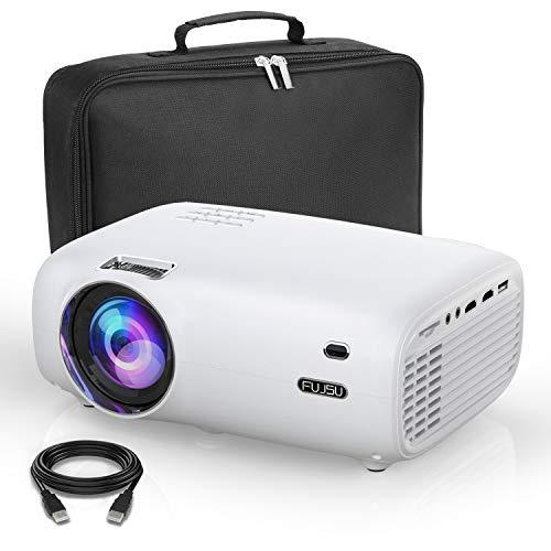 FUJSU Proyector portátil de 6000 lúmenes, Full HD, 1080P con 70.000 horas, proyector LED compatible con portátil, smartphones iOS/Android, USB, PS4, X-Box, Fire TV Stick