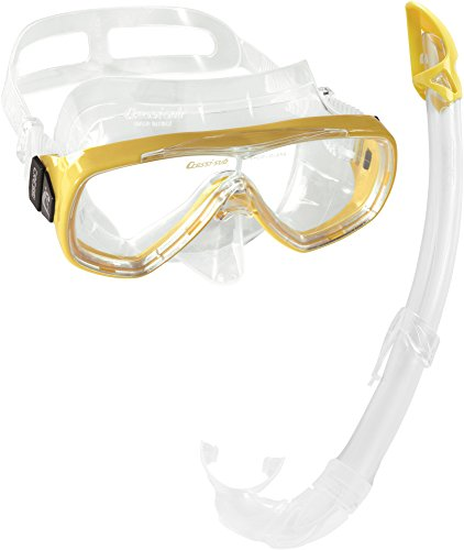 Cressi Unisex-Erwachsene Onda Mare Schnorchelset Tauchset Taucherbrille, Transparent/Gelb, Einheitsgröße
