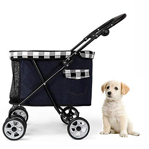 CJSWT Hundewagen Hundebuggy,Haustier-Hundewagen, Faltbare Four Wheel Pet Stroller, Breathable Tierwagen, Stauraum-Haustier Kann Leicht Begehbarer,C