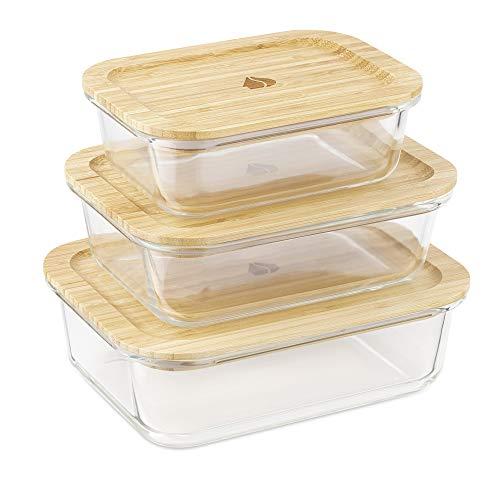 Navaris 3X boîte de Conservation Alimentaire en Verre thermorésistant - Boîte rectangulaire avec Couvercle Bambou - Aussi pour Cuisson congélation